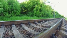 Railroad tracks on nature stock video footage