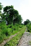 Railroad tracks near the cliff of history from World War. 2 at Death Railway Kanchanaburi Province Thailand stock photography