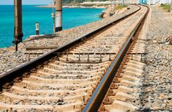 Railroad tracks near the sea Stock Photos