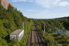 Railroad tracks near the station Essen-Holthausen (Germany) Royalty Free Stock Photography