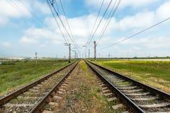Railroad. Tracks near the village royalty free stock photos