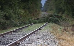 Railroad tracks blocked after Hurricane Florence. Railroad tracks with obstacles after Hurricane Florence hit near Fayetteville North Carolina stock photo
