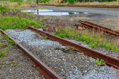 Railroad tracks an old worn and require urgent repair of the railway. Royalty Free Stock Photography