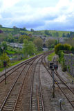 Railroad Tracks out of Totnes Hams England. The railways in the UK are a main form of mass transportation.  A fast and reliable way for people to travel for Royalty Free Stock Image