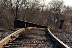 Railroad tracks over a bridge Stock Images
