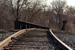 Railroad tracks over a bridge Stock Images
