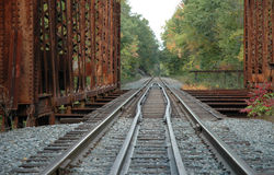 Railroad Tracks over bridge Royalty Free Stock Photos