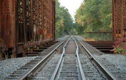 Railroad Tracks over bridge. With vanishing perspective Royalty Free Stock Photos