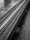 Railroad tracks over the St. John's River in Jacksonville Florida Royalty Free Stock Image