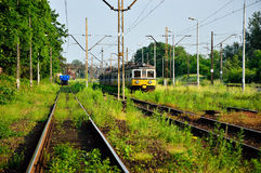 Railroad tracks overgrown with grass on a railway siding Stock Image