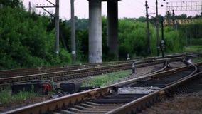 The Railroad Tracks with Pillars. Horizontal Panorama stock video footage