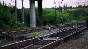 The Railroad Tracks with Pillars. Horizontal Panorama stock video