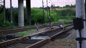 The Railroad Tracks with Pillars. Translation Focus stock video footage