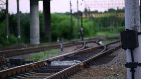 The Railroad Tracks with Pillars. Translation Focus stock footage