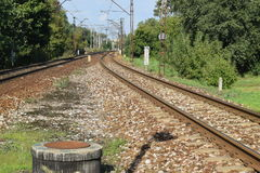Railroad tracks in Poland Royalty Free Stock Photo