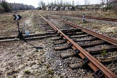 Railroad tracks and railroad switch Royalty Free Stock Photos