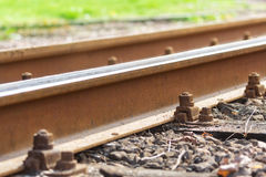 Railroad tracks, rails, railway, chair Stock Photos