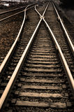 Railroad Tracks with Rails for Train Stock Photo