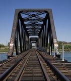 Railroad tracks. Railway Bridge over the river Royalty Free Stock Photos