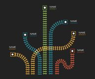 Railroad tracks, railway simple icon, rail track direction, train tracks colorful vector illustrations on black. Backgroud, colorful stairs, subway stations map royalty free illustration
