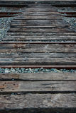 Railroad tracks and railway sleepers. Stock Photos