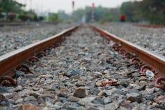 Railroad tracks and railway sleepers. Royalty Free Stock Photo