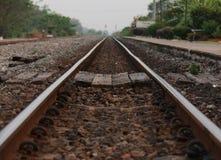 Railroad tracks and railway sleepers. Stock Photo