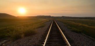 Railroad Tracks Reflect Sunrise Rural American Transportation Royalty Free Stock Images