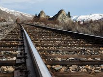 Railroad in Columbia river valley, WA stock photography