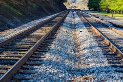 Low View of Railroad Tracks in the Mountains. Railroad tracks running through the mountains located in rural southwest Virginia, USA royalty free stock photo