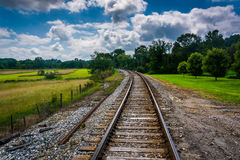 Railroad tracks in rural Carroll County, Maryland. Stock Images