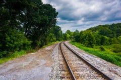 Railroad tracks in rural Carroll County, Maryland. Stock Photo