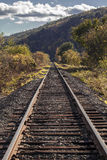 Railroad Tracks In Rural Vermont Lead To Vanishing Point Royalty Free Stock Images