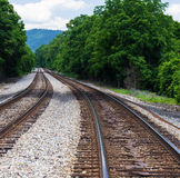 Railroad Tracks in Rural Virginia, USA. Pair of railroad tracks located in rural southwest Virginia, USA Stock Image