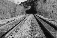 Railroad Tracks Through Rural Virginia, USA. Pair of railroad tracks running through the mountains located in rural southwest Virginia, USA stock photography