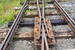 Railroad tracks. Rusty railway crossroads royalty free stock images