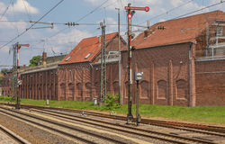 Railroad tracks and signals in Lingen Royalty Free Stock Photos