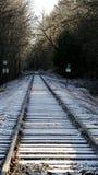 Railroad tracks with snow Stock Photo