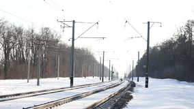 Railroad tracks in the snow stock video