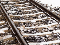 Railroad tracks in snow Royalty Free Stock Photography