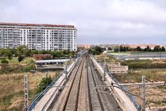 Railroad tracks in Spain Stock Images