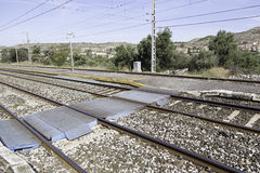 Railroad tracks at a station Royalty Free Stock Images