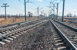 Railroad. Tracks stretching into the distance beyond the horizon Royalty Free Stock Photography