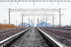 Railroad. Tracks stretching into the distance beyond the horizon Stock Image