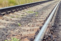 Railroad tracks in the sunlight close-up.  Stock Images