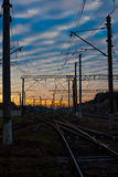 Railroad tracks at sunset Royalty Free Stock Photography