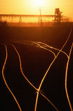 Railroad tracks at sunset, MO Royalty Free Stock Image