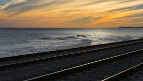 Railroad tracks at sunset Royalty Free Stock Photos