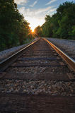 Railroad Tracks At Sunset. Royalty Free Stock Photo