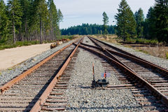 Railroad tracks switch. A flip switch on the railroad tracks Royalty Free Stock Photo